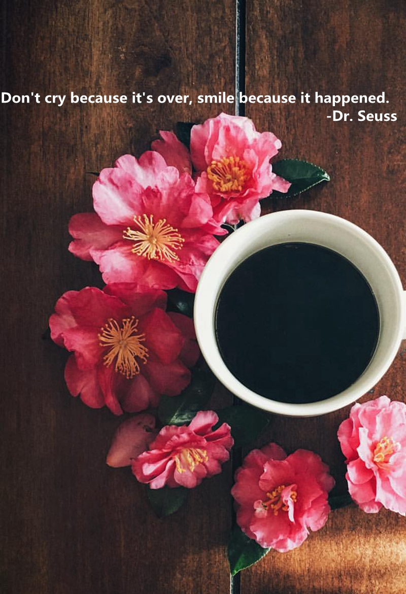 how about have a cup of coffee and enjoy a sight of flower when